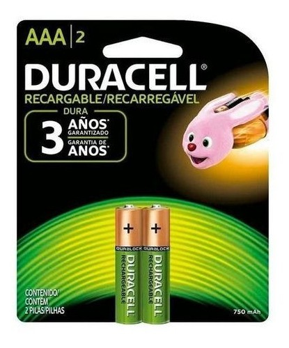 4 Pilhas Recarregáveis Aaa Duracell 750mah Original