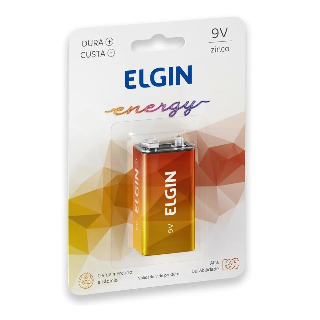 5 Baterias de Zinco Carbono 9v Elgin Alta Durabilidade Original