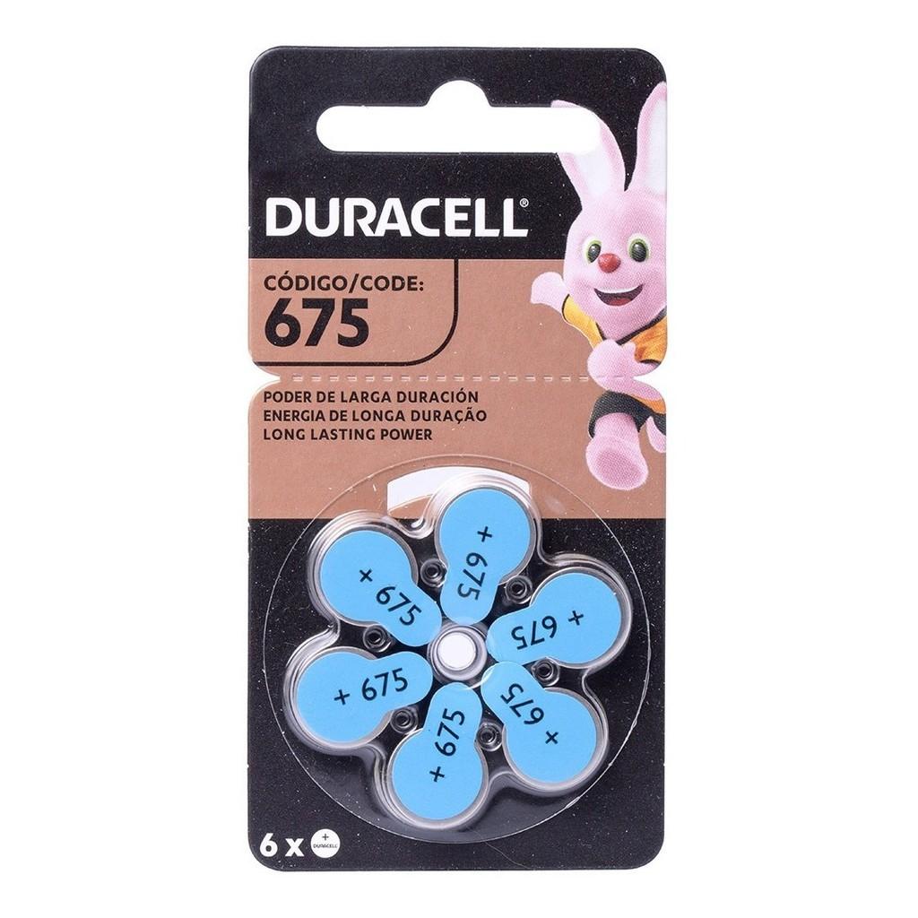 6 Baterias Aparelho Auditivo Duracell 675 C/6  Unidades