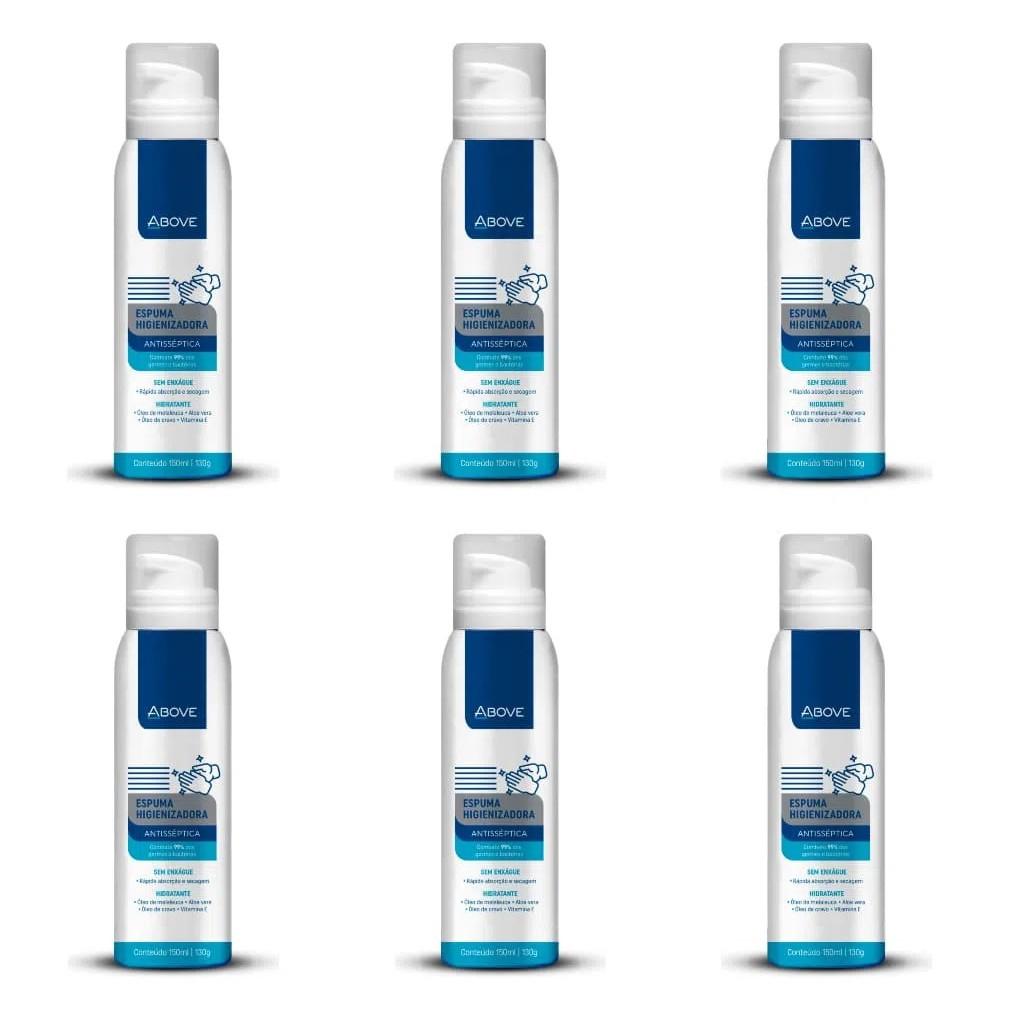6 Espuma Higienizadora Para Mãos Antisséptica e Hidratante Above