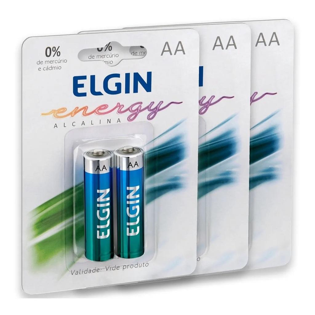 6 Pilhas Aa Alcalina Elgin
