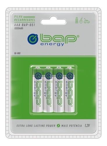 8 Pilha AAA Recarregável Bap 651 1000 Mah