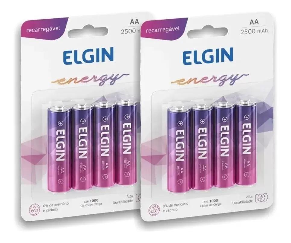 8 Pilhas AA Recarregável Elgin 2500 Mah