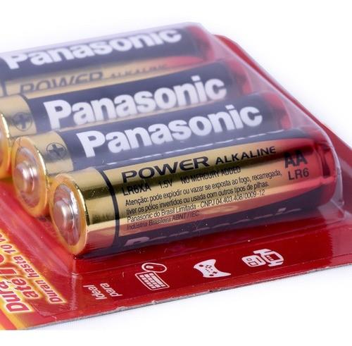8 Pilhas AA Alcalina Aa Panasonic 2 Cartelas C/4 Unidades