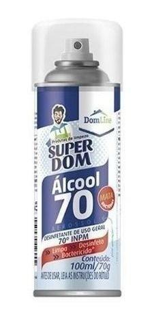 Álcool Aerossol 70 Super Dom 300ml Dom Line Kit  C/6 Unidades