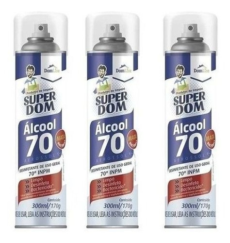 3 Álcool Spray Aerossol 70 Super Dom 300ml Dom Line