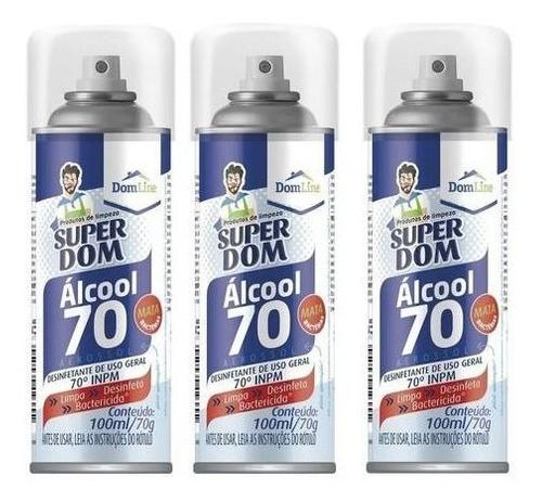 12 Álcool Spray Aerossol 70 Super Dom 300ml Dom Line