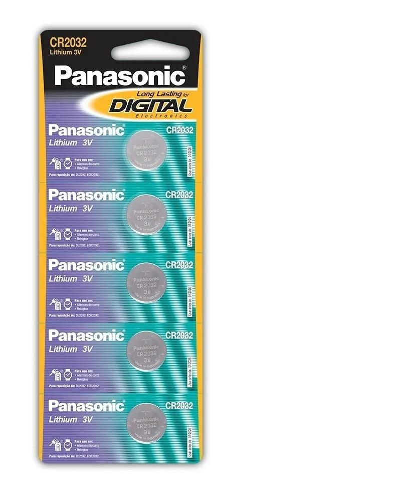 Bateria Cr2032 3v de Botão Lithium Panasonic  5 Unid