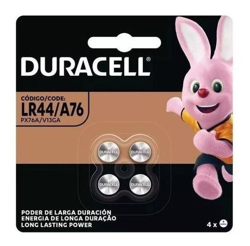 Bateria Duracell Lr44 A76 1.5V Botão Moeda Cartela 4 Unid
