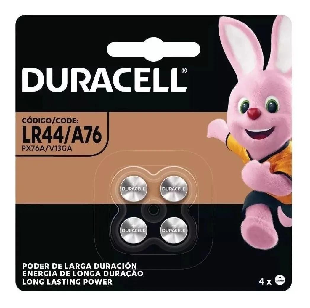 Bateria Duracell Lr44 A76 1.5V Botão Moeda Cartela 4 Unidades