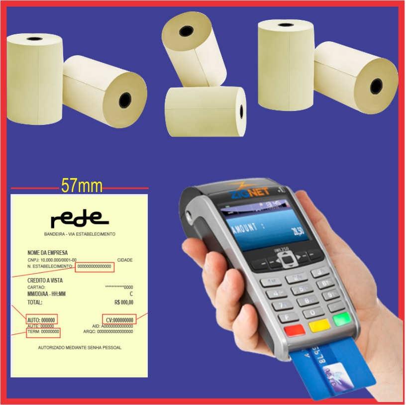 Bobina Térmica 57x15 Branca C/15 Rolos para Maquininha de Cartão de Crédito