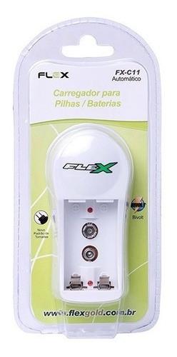 Carregador De Pilhas E Baterias Aa Aaa 9v Flex Fx-c11