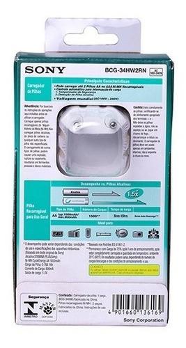 Carregador De Pilhas Sony Bcg 34 Hw 2 Rn Com 2 Pilhas Aa