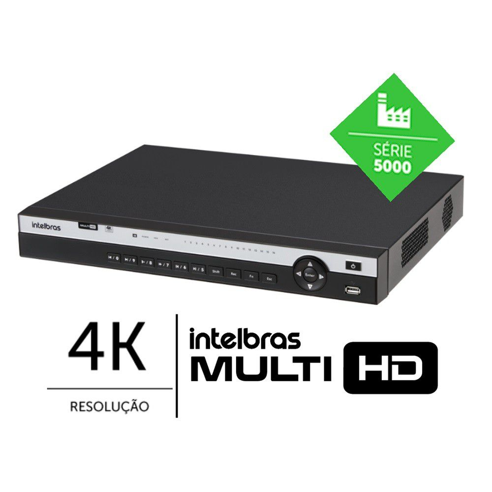 DVR Gravador de Video MHDX 5216 Intelbras 16Canais 4k Sem HD
