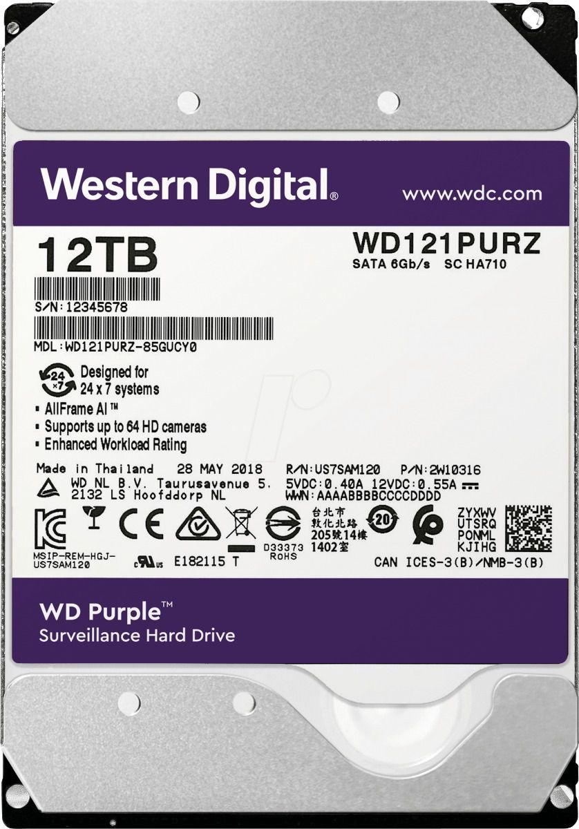 Hd Interno Wd Purple 12TB Surveillance Sata 5400 Tf WD121PURZ
