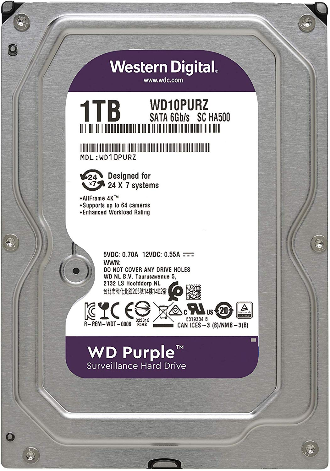 Hd Interno Wd Purple 1 TB Surveillance Sata 5400 Tf WD10PURZ