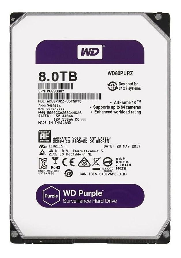 Hd Interno Wd Purple 8 TB Surveillance Sata 5400 Tf WD80PURZ
