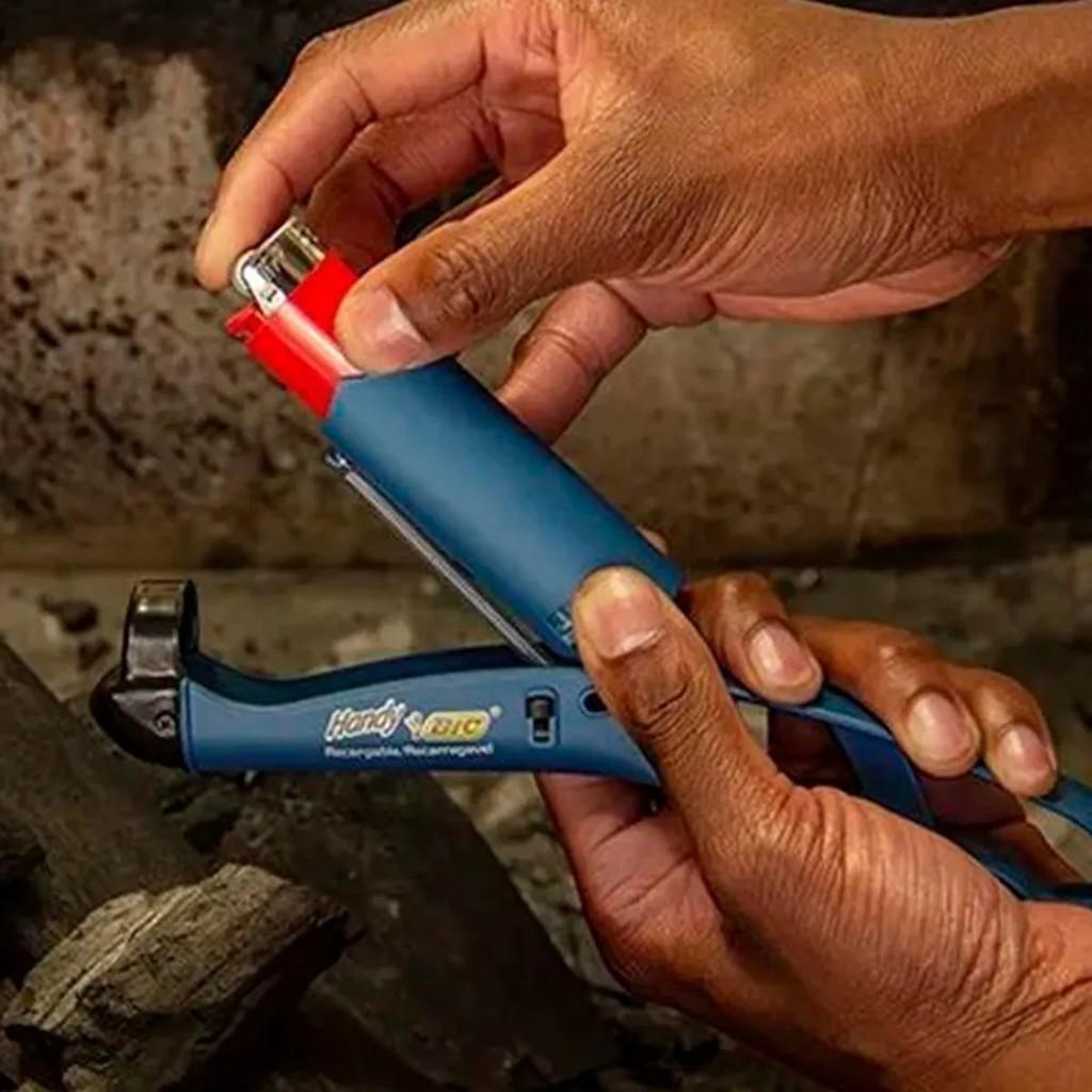 Kit 12 Acendedor Fogão Bic Handy Recarregável Fogao Forno Vela  Lareira Caldeira Churrasqueira