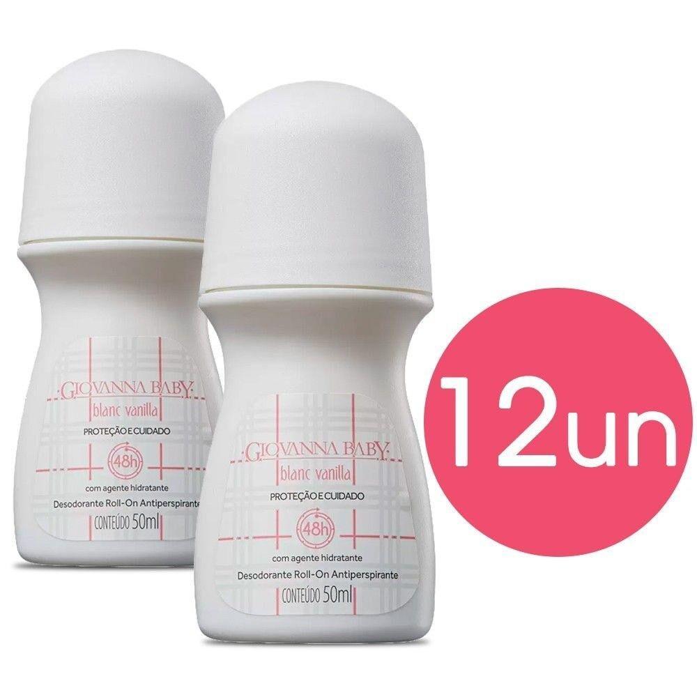 Kit 12 Desodorante Roll-on Giovanna Baby Blanc Vanilla 50ml Antiperspirante