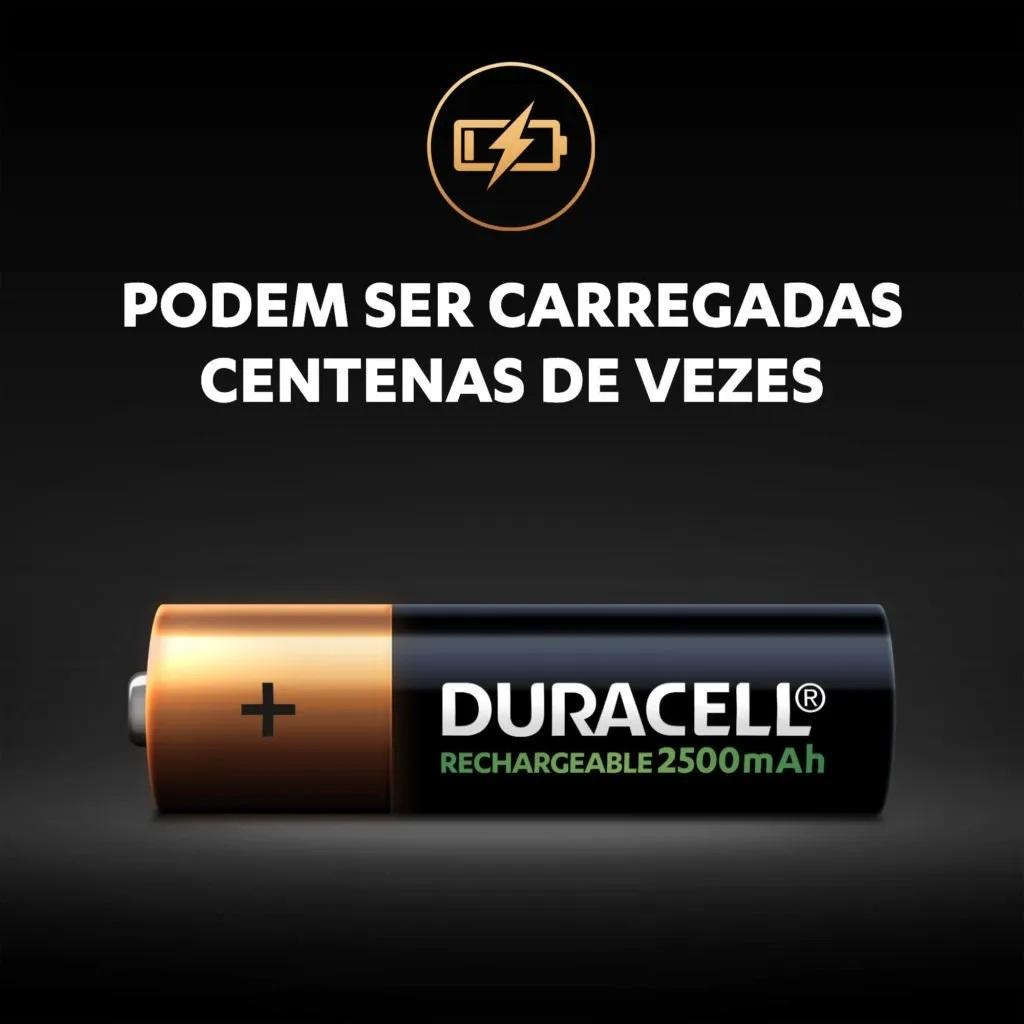 Kit 12 Pilhas AA Recarregavel Duracell 2500 Mah