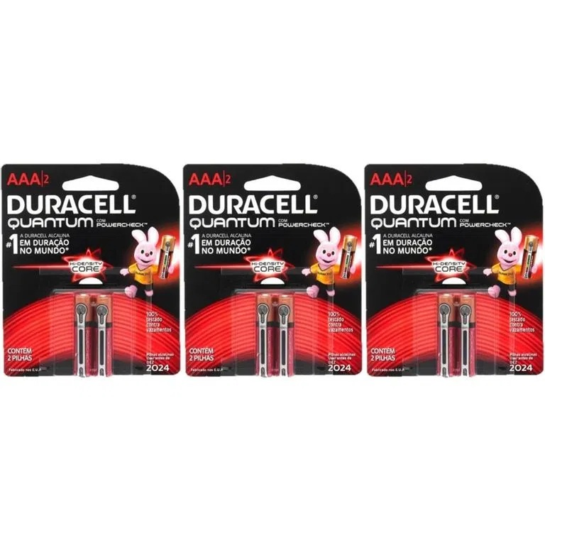 Kit 12 Pilhas Duracell Quantum Alcalina Aaa 6 Cartelas C/2 Unid