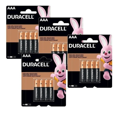 Kit 16 Pilhas AAA Duracell Alcalina Palito 4 Cartelas C/4 Unidades