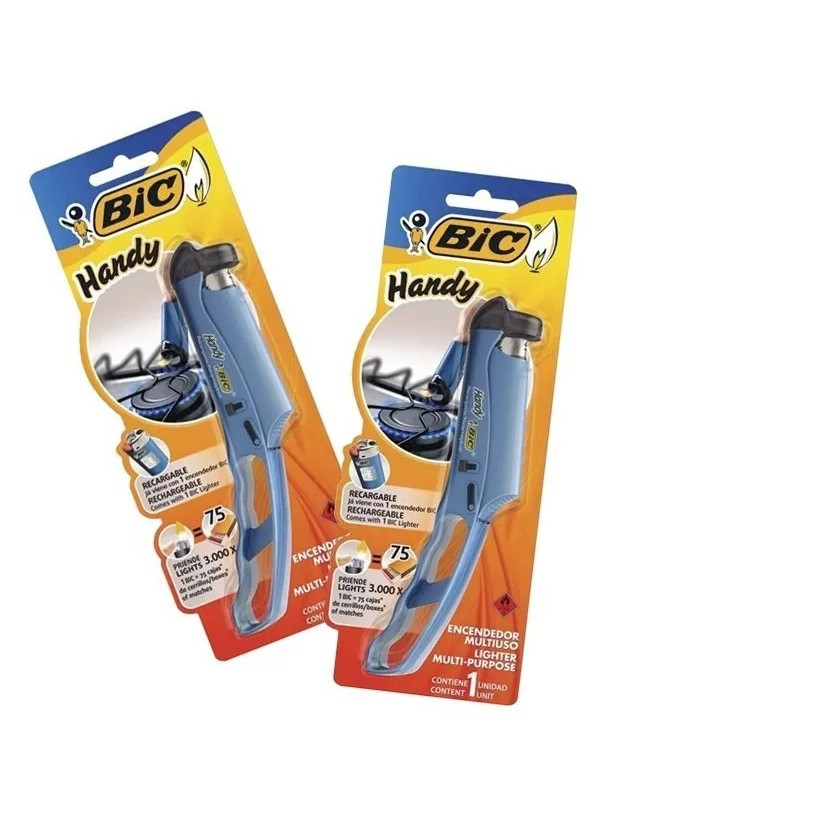 Kit 2 Acendedor Fogão Bic Handy Recarregável Fogao Forno Vela  Lareira Caldeira Churrasqueira