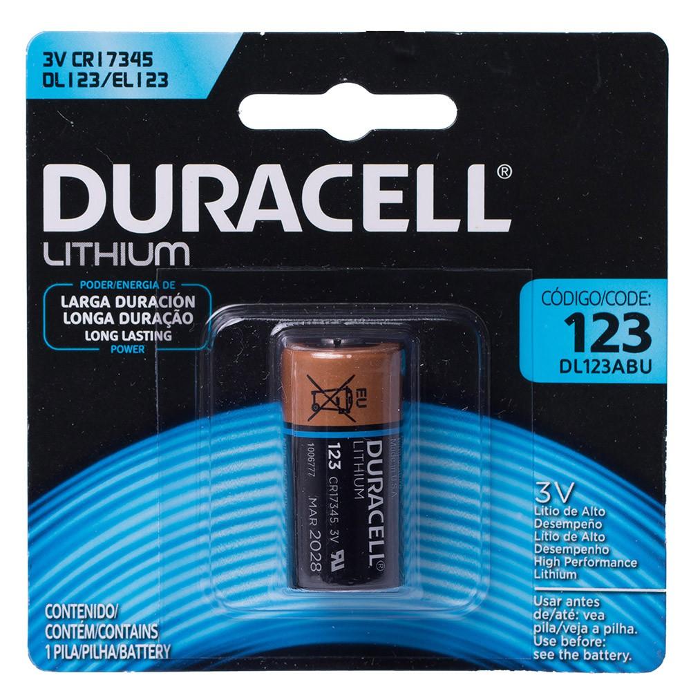 Kit 3 Baterias de Lithium Duracell 3v Cr123 DL123 Pilha
