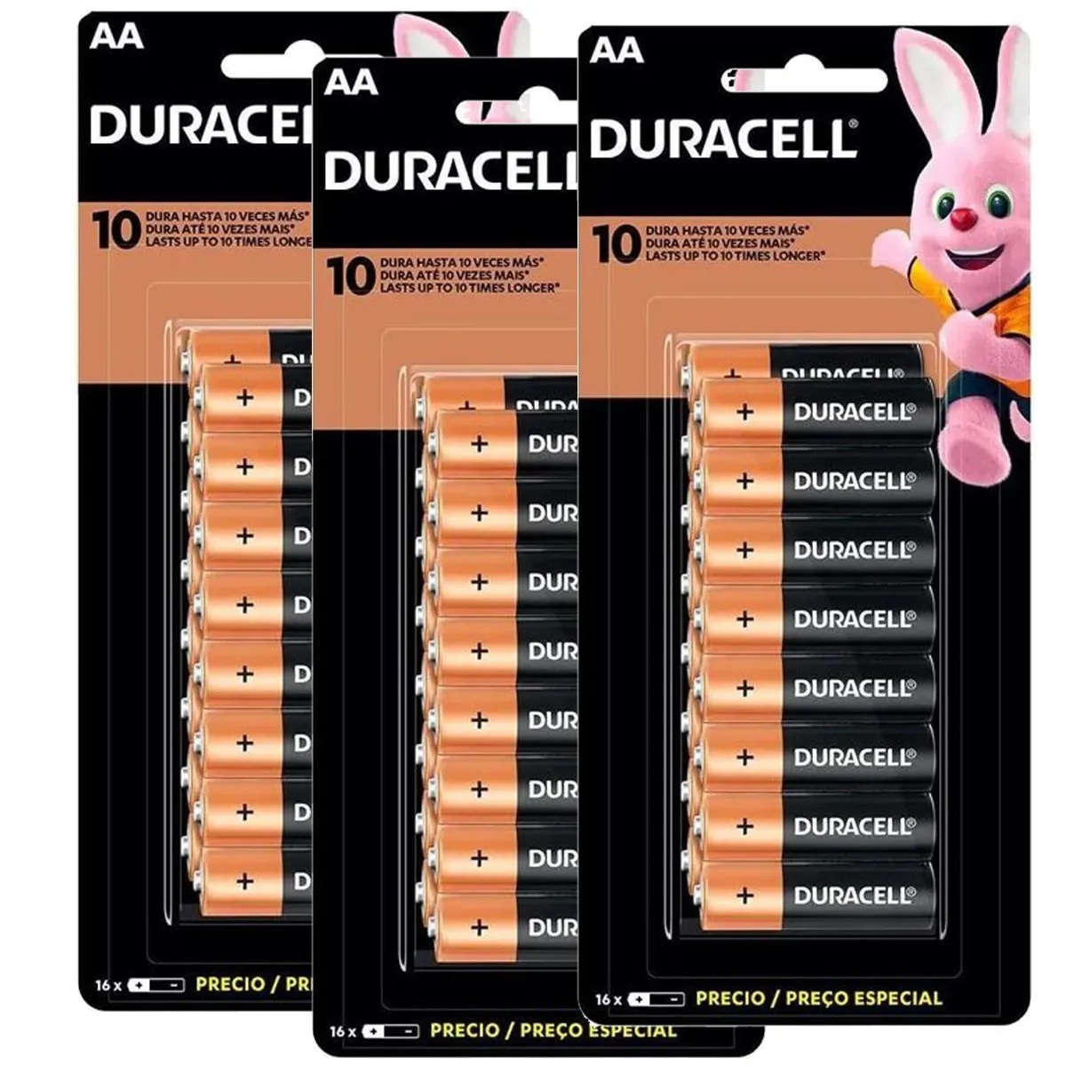 Kit 48 Pilha AA Duracell Alcalina 3 Cartelas C/16 Unidades