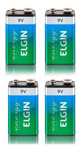 Kit 4 Bateria 9V Alcalina 6lr61 Elgin Pilha Original