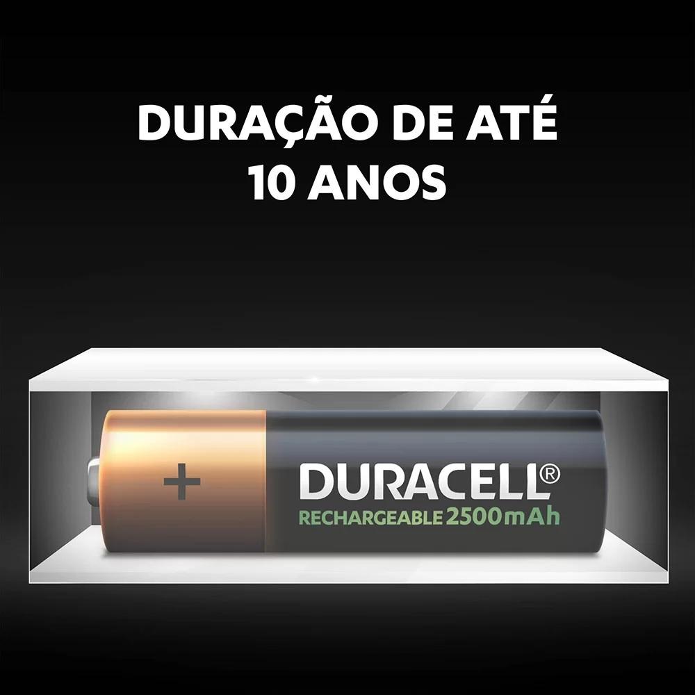 Kit 6 Pilhas AA Duracell Recarregável 2500 Mah Original