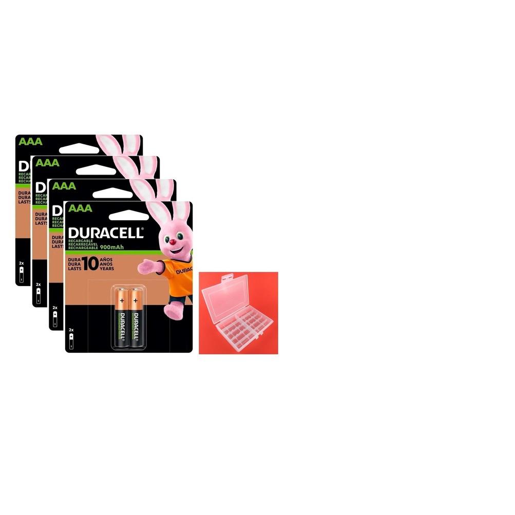 Kit 8 Pilhas AAA Palito Duracell Recarregável 900 Mah