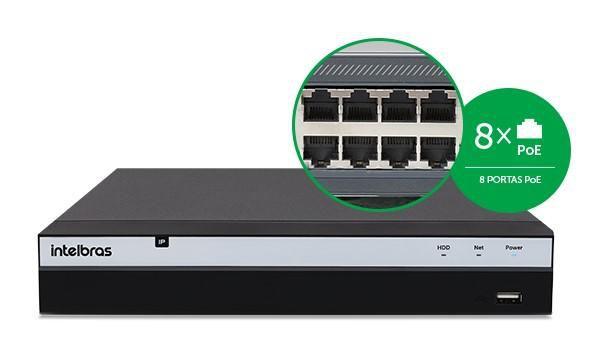 NVD Gravador Vídeo 3208P NVR Intelbras 8 Canais HD 8TB Purple