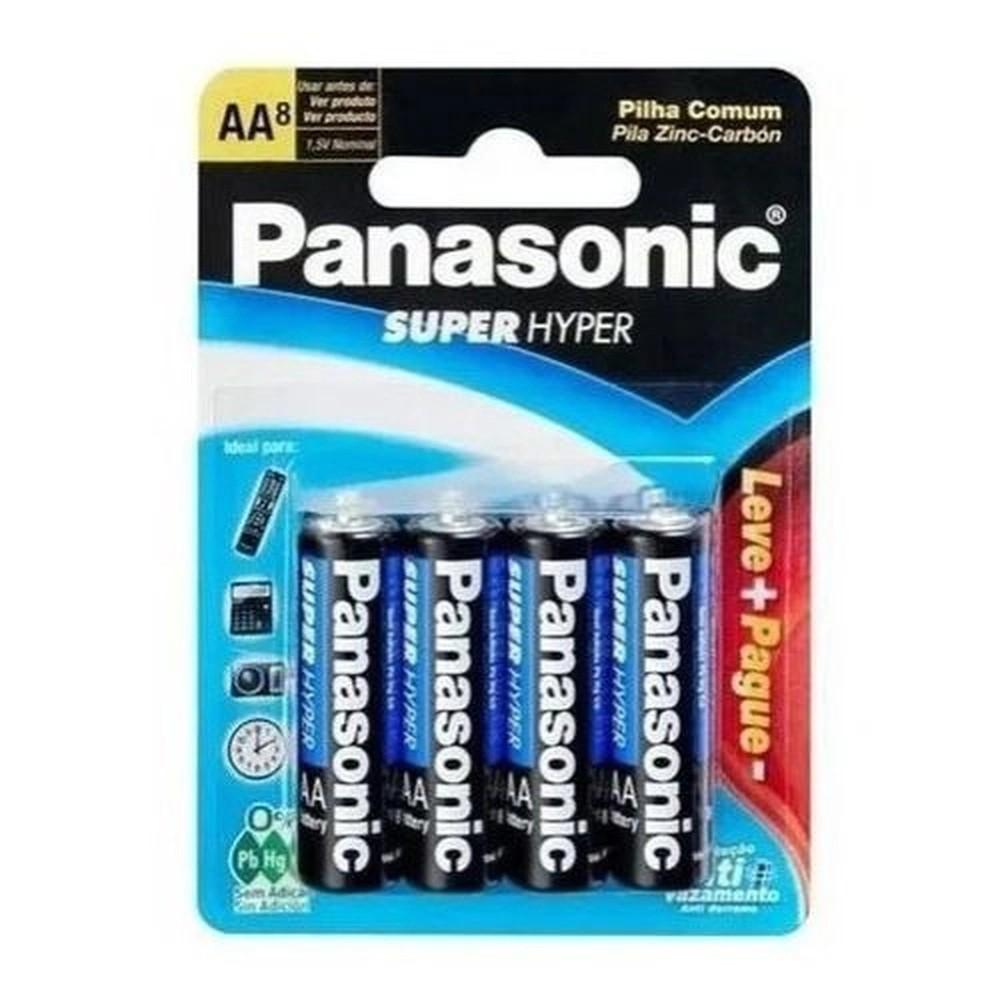 Pilha AA Panasonic Cartela Leve 16 Pague 12 (Pilhas) Super Hyper Antivazamento