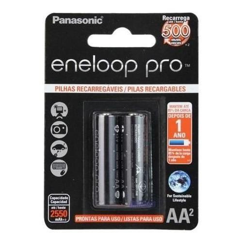 Pilha AA Recarregável Eneloop Pro C/2 Un Panasonic