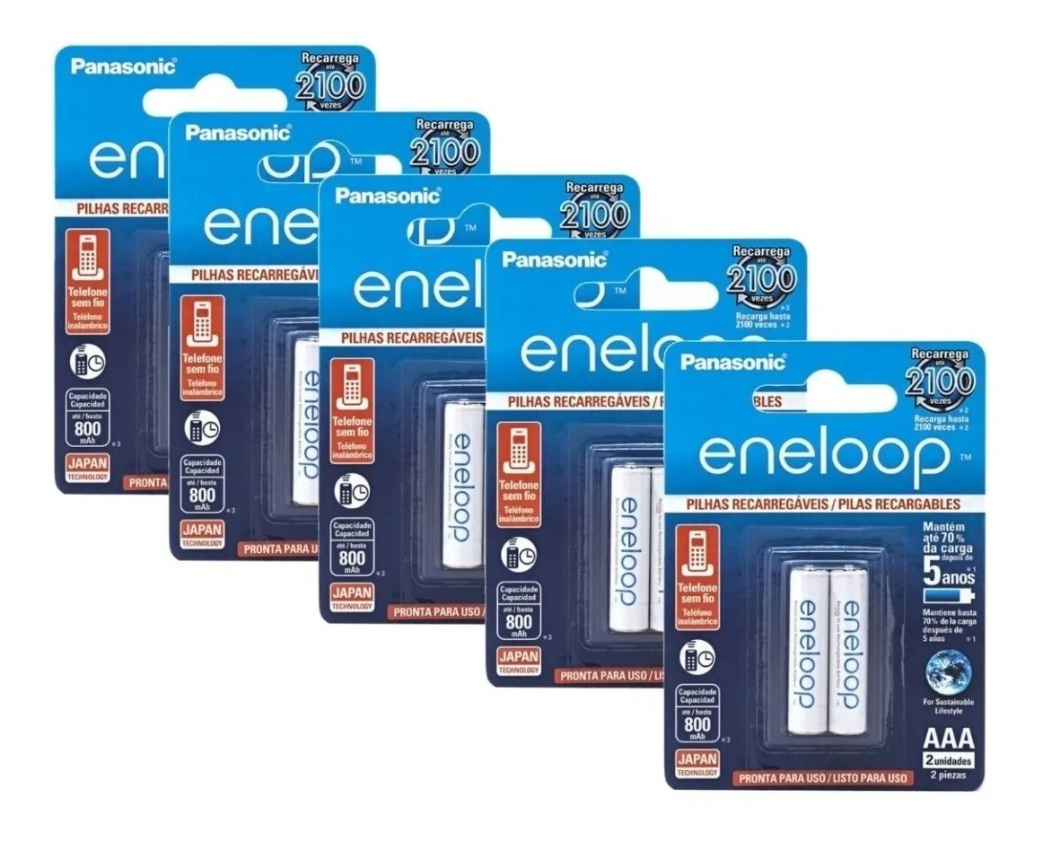 Pilha Aaa Eneloop Panasonic Recarregavel 800mah C/10 Unid