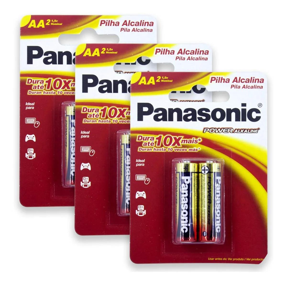 Pilha Alcalina Panasonic Aa Cartela C/6 Unidades