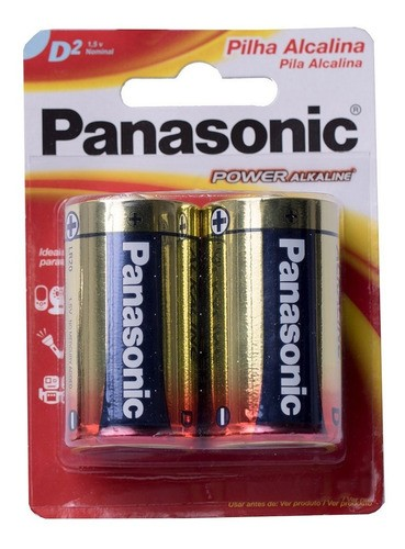 Pilha Alcalina Panasonic Grande D Rádio Brinquedo 8 Unidades