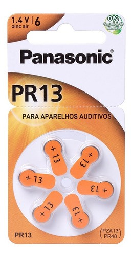 Pilha Auditiva Pr-13 Zinc Air Panasonic 1.4v C/ 6