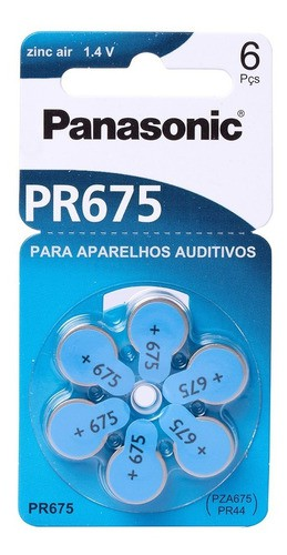 Pilha Auditiva Pr-13 Zinc Air Panasonic 1.4v C/ 6 Original
