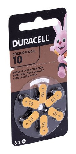 6 Pilhas Duracell Auditiva 10