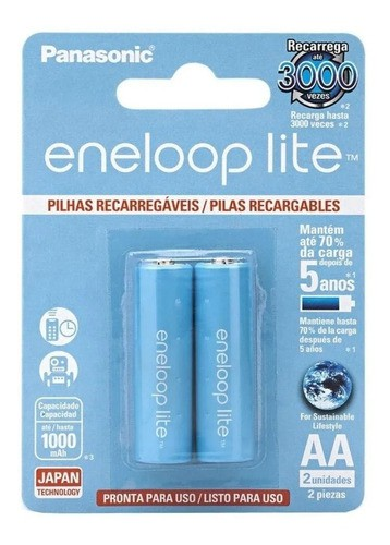 Pilha Eneloop Lite Aa Panasonic Recarregavel 1000mah C/ 4 Un