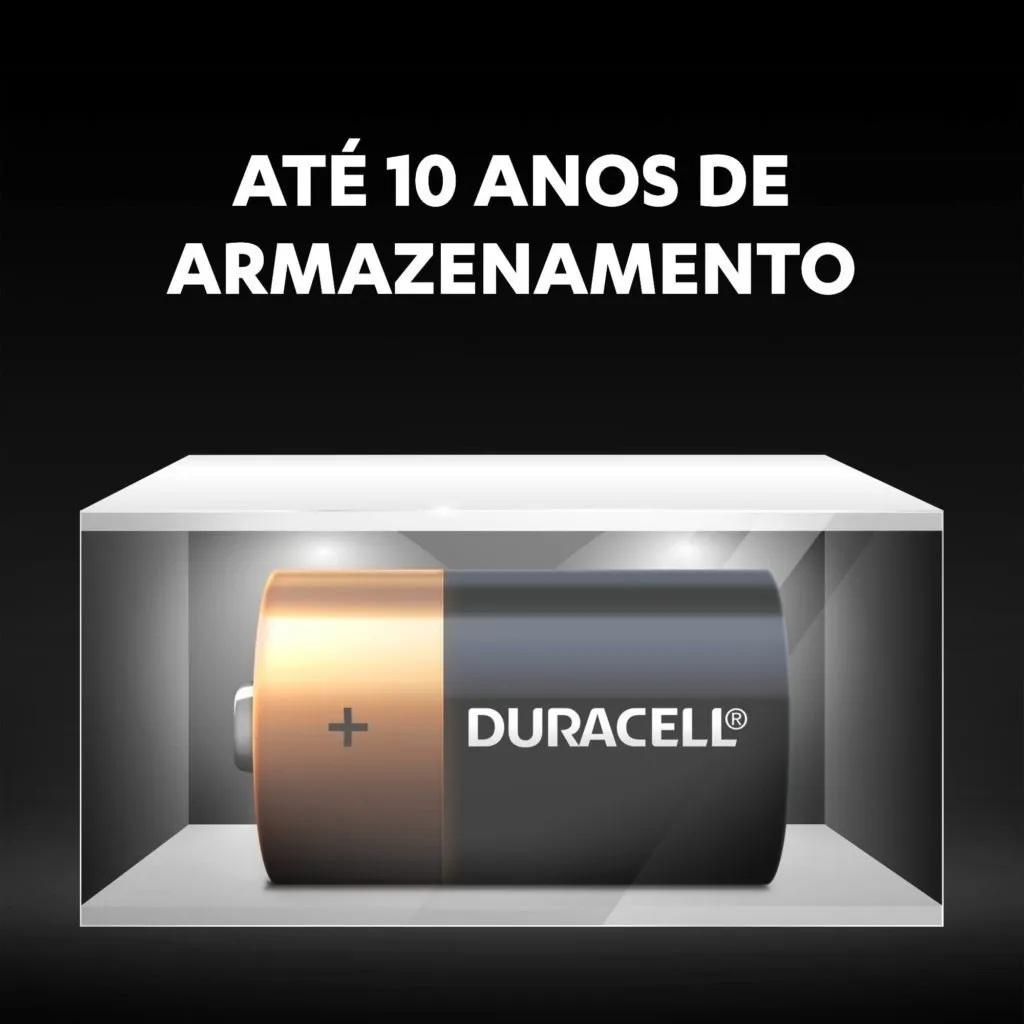 Pilha Grande D Duracell Alcalina LR20 Cartela C/2 Unidades