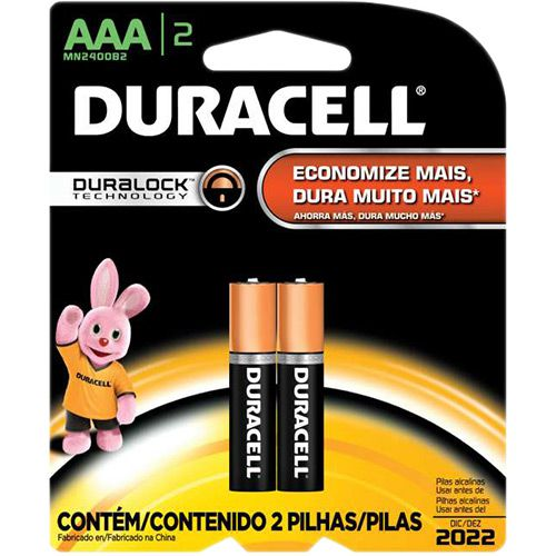 Pilha Palito AAA Duracell Alcalina Cartela com 2 Atacado
