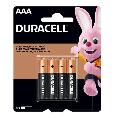 Pilha Palito AAA Duracell Alcalina Cartela com 4