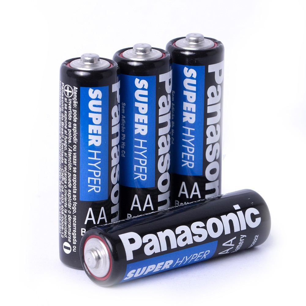Pilha Panasonic Comum Pequena Aa Cartela C/ 4 Unidades