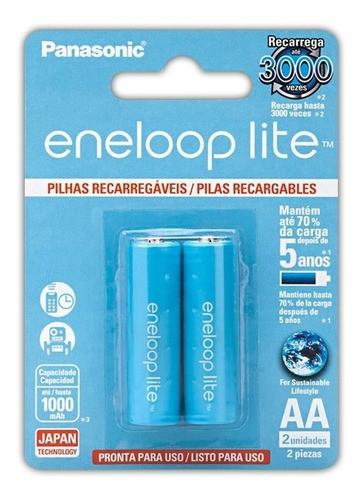 Pilha Recarregavel AA Eneloop Lite Panasonic 1000mah C/ 6 Un