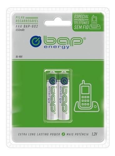2 Pilhas AAA Recarregável 1000 Mah Bap 601