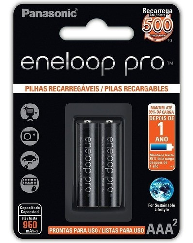 Pilha Recarregável Eneloop Pró Aaa Palito Panasonic C/2 Unid
