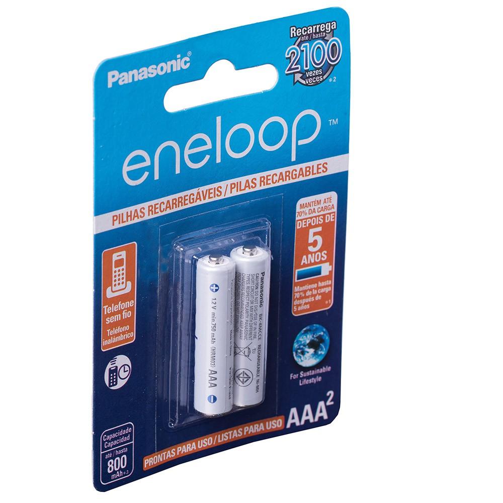 Pilha AAA Panasonic Eneloop Recarregavel 800 mah Cartela C/2 Branca